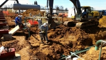 Compacting backfill on a new compressor station site