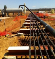 Newly installed piping at compressor station