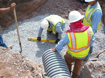 Preparing to set manhole structures at Stillwater project site